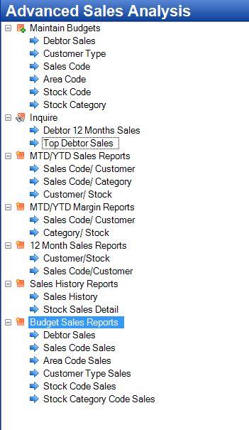 Tencia Advanced Sales Menu