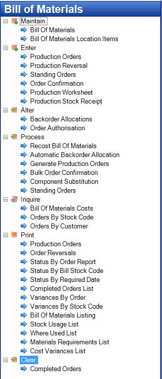 Tencia Bill of Materials Menu