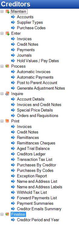 Tencia Accounts Payable (Creditors) Menu