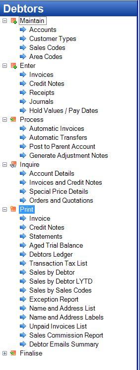 Tencia Accounts Receivable (Debtors) Menu