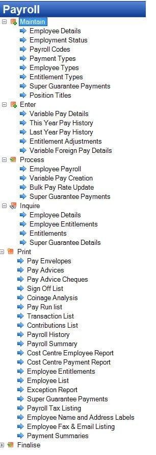 Tencia Payroll Menu